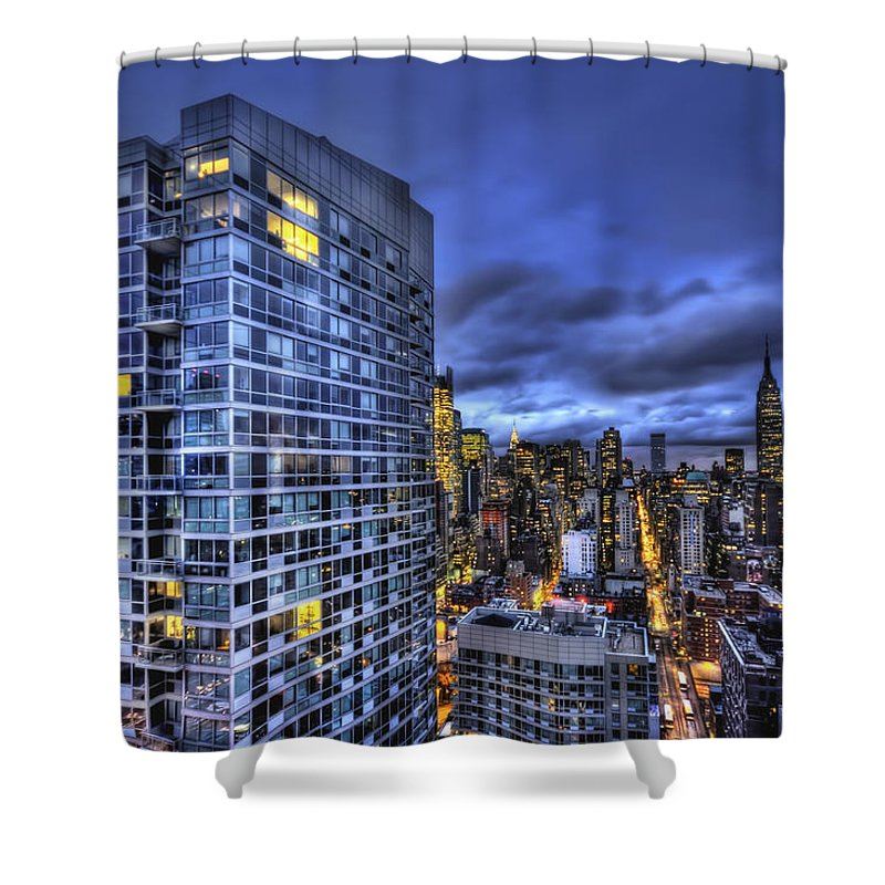 New York Shower Curtain featuring the photograph Major Highs And Manic Lows by Evelina Kremsdorf