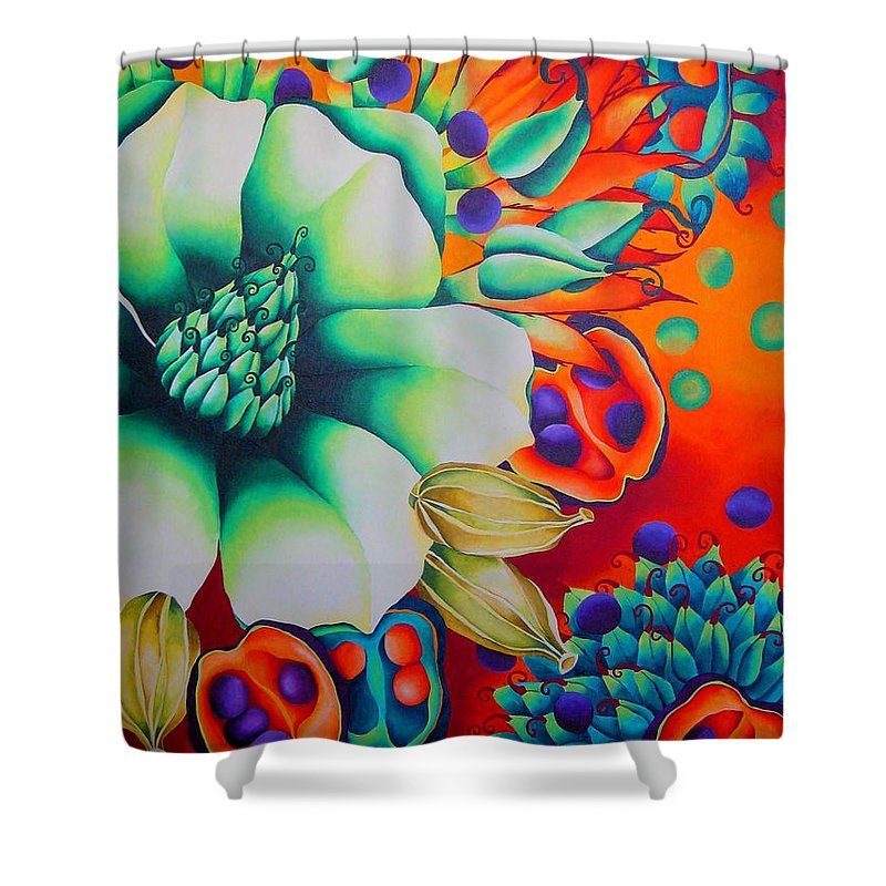 Magnolia Blossom Shower Curtain featuring the painting Malabar by Elizabeth Elequin