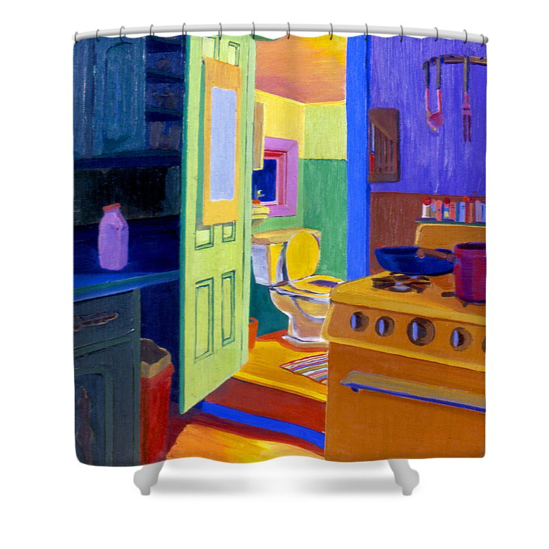 Bathroom Shower Curtain featuring the painting Malden Bathroom 1977 by Nancy Griswold
