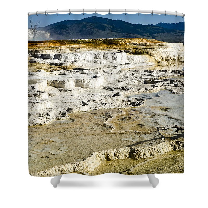 Yellowstone National Park Shower Curtain featuring the photograph Mammoth Hot Springs Terraces by Jon Berghoff