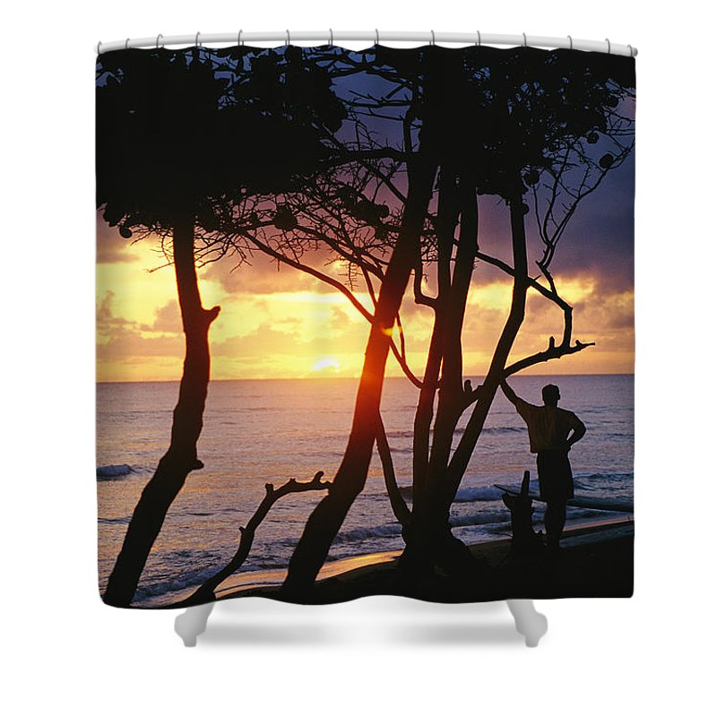 Natural Forces And Phenomena Shower Curtain featuring the photograph Man And Surfboard At Sunrise, Cabarete by Skip Brown