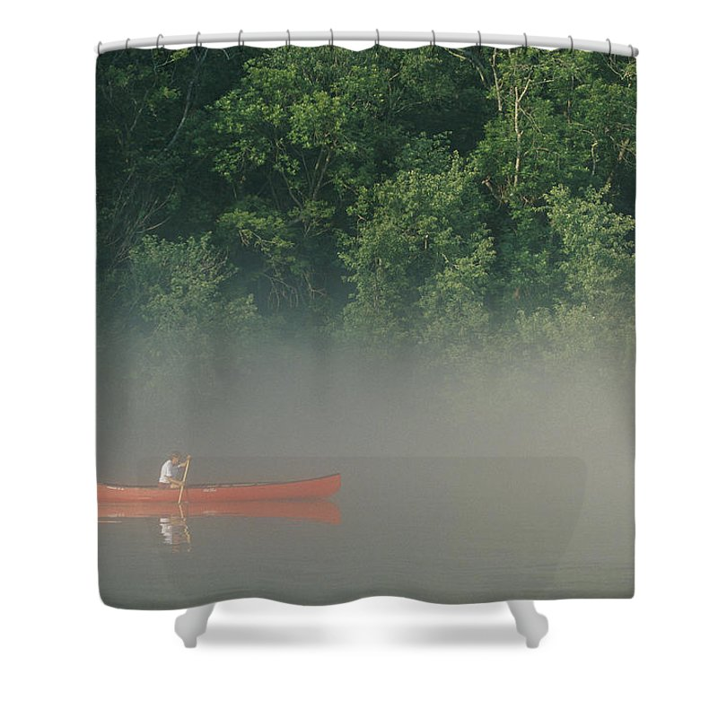 Sports Shower Curtain featuring the photograph Man Paddling Canoe In Mist, Roanoke by Skip Brown
