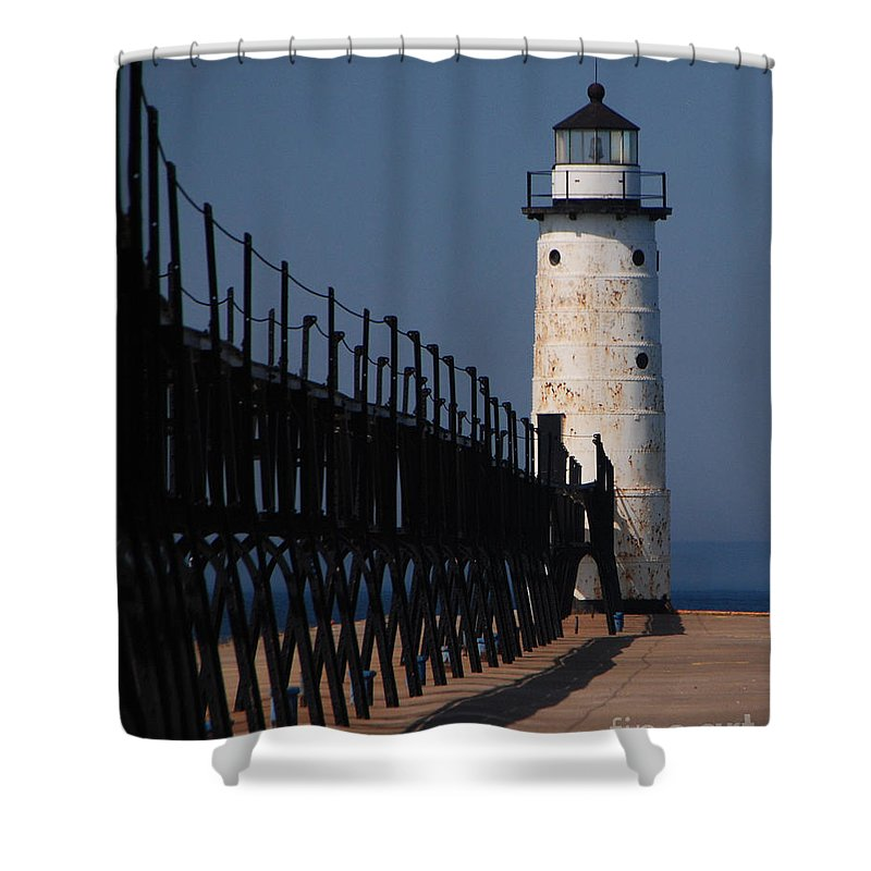 Lighthouse Shower Curtain featuring the photograph Manistee Harbor Lighthouse And Cat Walk by Grace Grogan