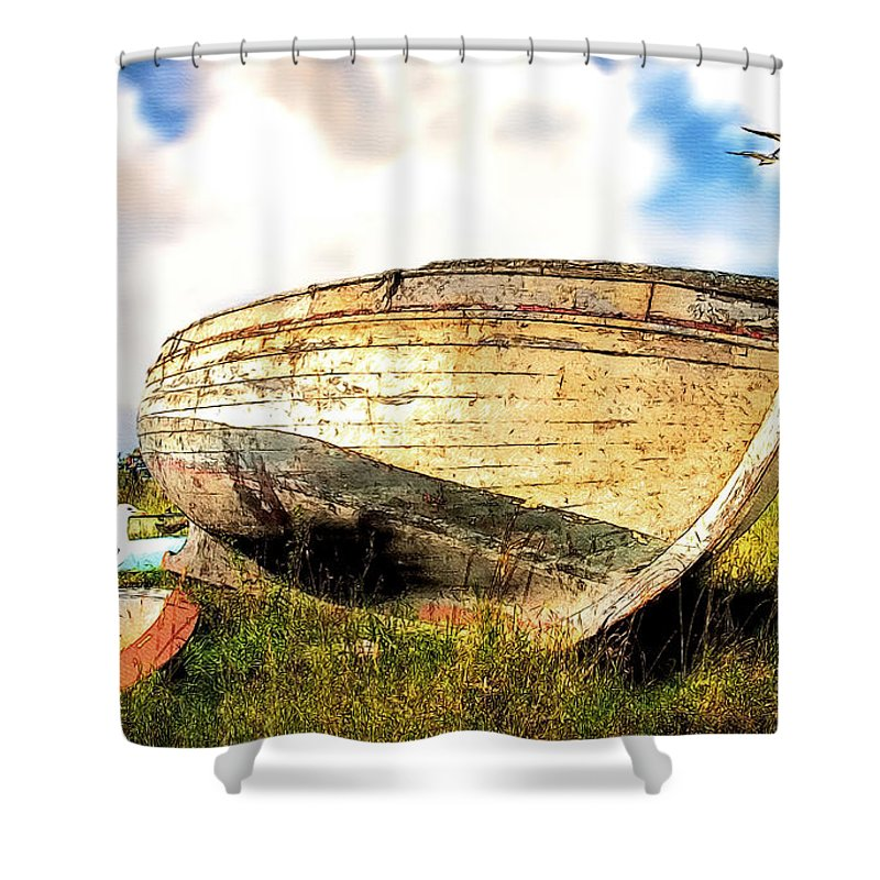 Old Boats Shower Curtain featuring the painting Many Untold Stories by Tom Schmidt