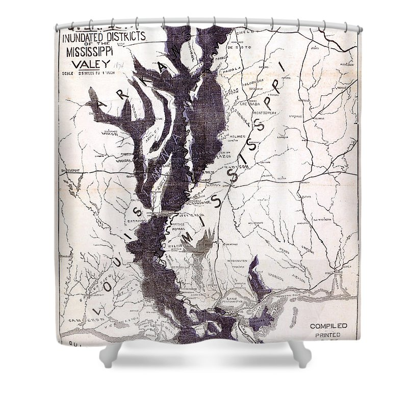 1874 Shower Curtain featuring the photograph Map: Mississippi River, 1874 by Granger