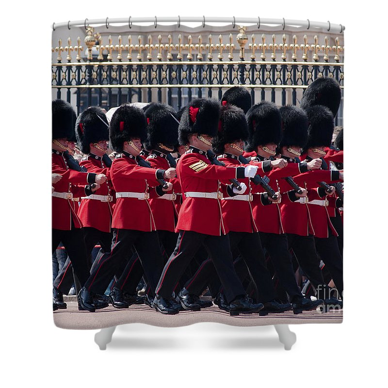 Britain Shower Curtain featuring the photograph Marching In Red And Black by Andrew Michael