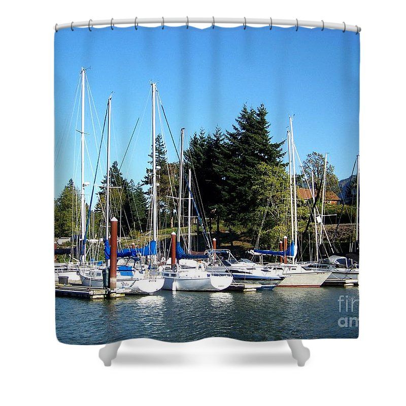Marina Shower Curtain featuring the photograph Marina At Cascade Locks by Charles Robinson