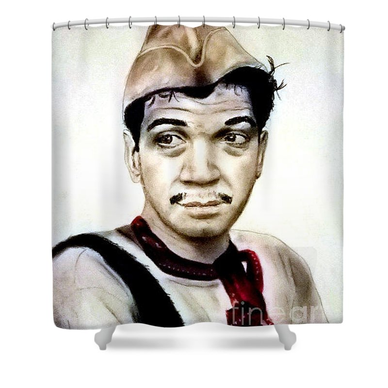 Legendary Shower Curtain Featuring The Pastel Mario Moreno As Cantinflas In El Bombero Atomico By Jim