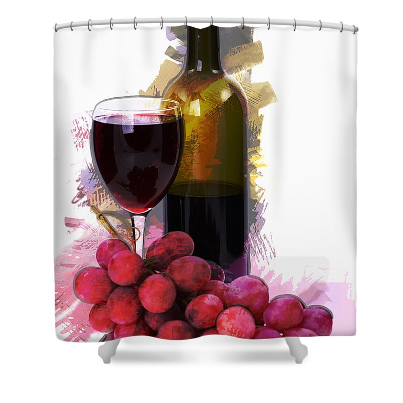 Wine Shower Curtain Featuring The Painting Marker Sketch Glass Bottle And Grapes By Elaine Plesser