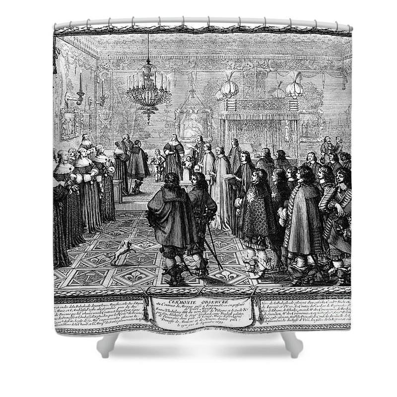 1645 Shower Curtain featuring the photograph Marriage Contract, 1645 by Granger