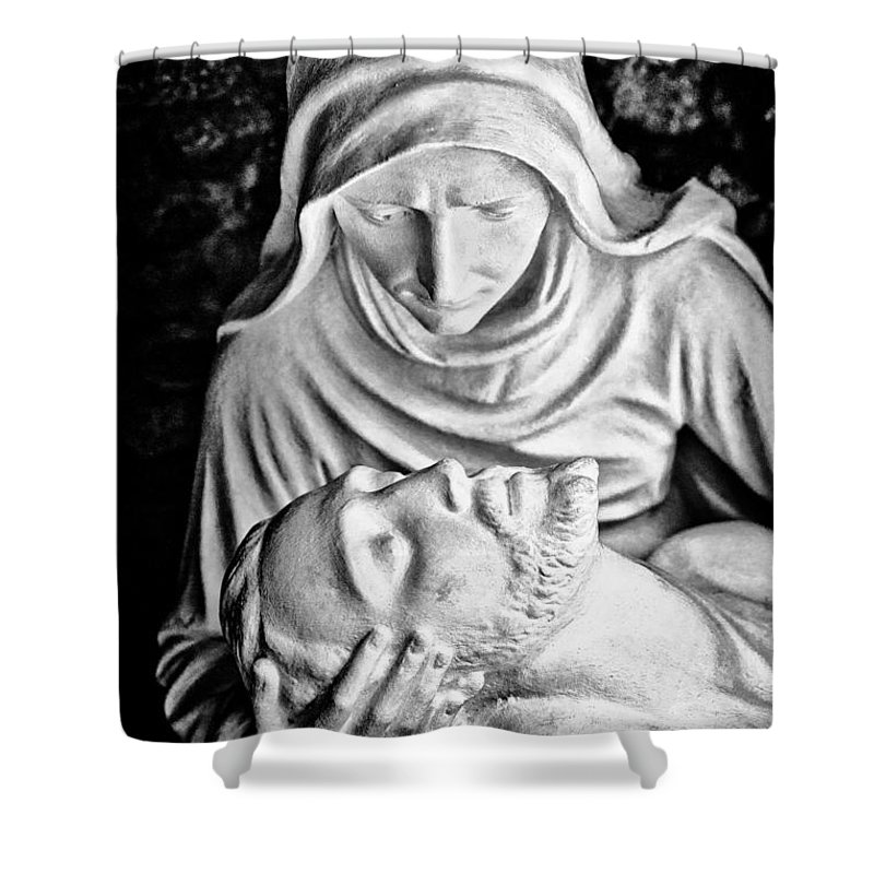 Religion Shower Curtain featuring the photograph Mary Cradling Jesus by Christopher Holmes