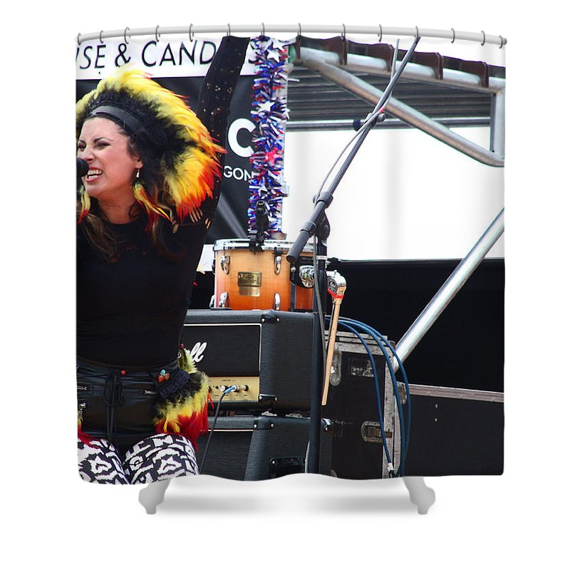 Woman Singer In Mary Jane Band With Indian Native Feathers On Shower Curtain featuring the photograph Maryjane Sings Loud And Proud by Kym Backland