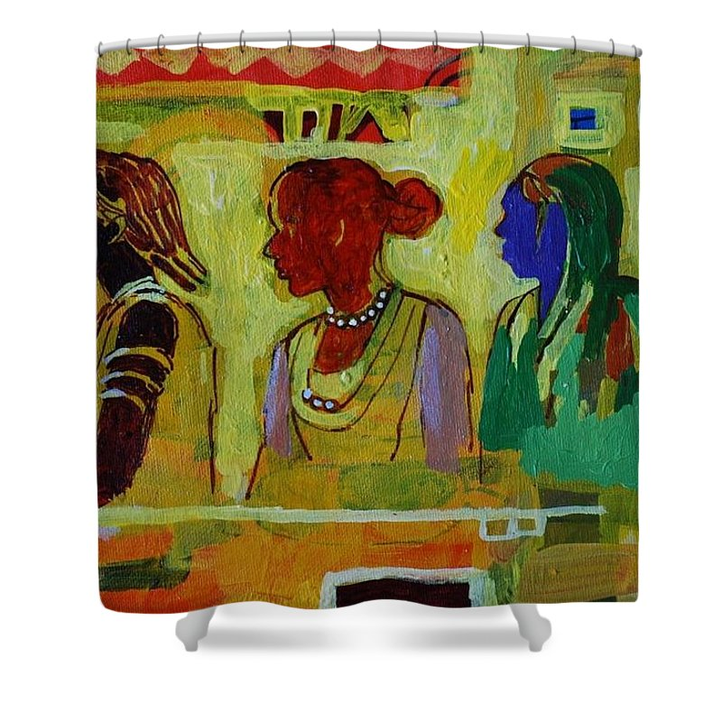 Maseed11 Shower Curtain featuring the painting Maseed11 by Mohamed Fadul