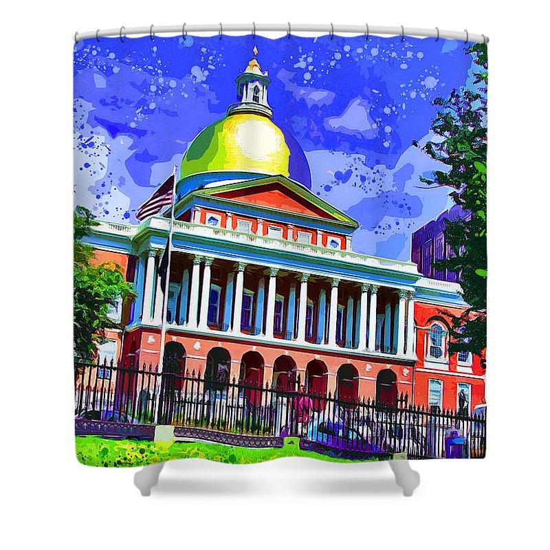 Massachusetts State House Shower Curtain featuring the digital art Massachusetts State House by Stephen Younts