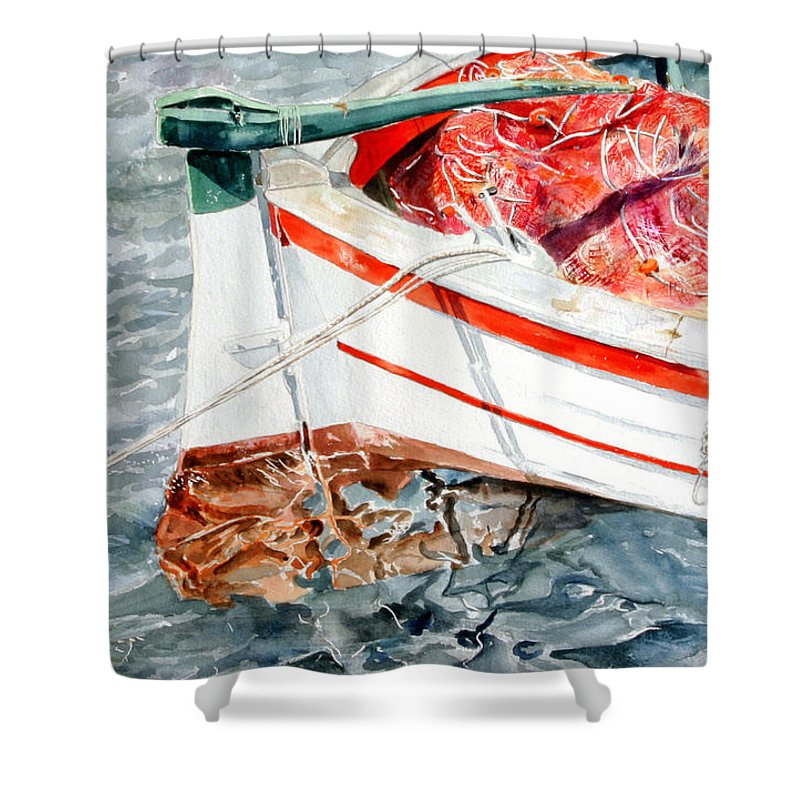 Boats Shower Curtain featuring the painting Matricola 2ca 970 by Giovanni Marco Sassu