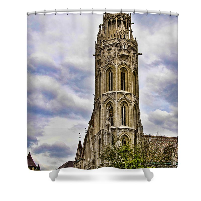 Matthias Church Shower Curtain featuring the photograph Matthias Church Tower - Budapest by Jon Berghoff
