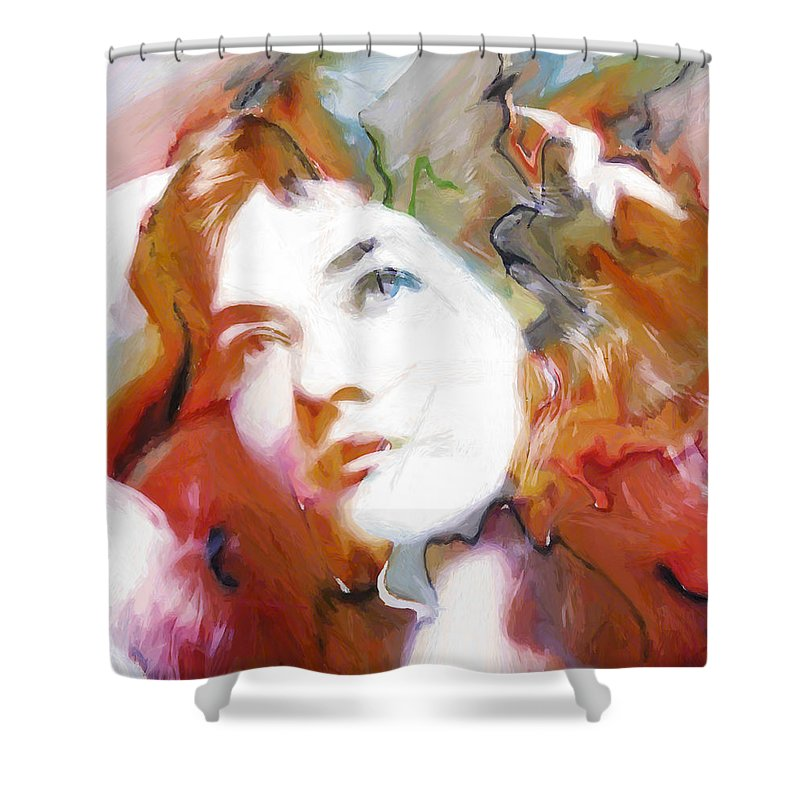 Abstract Painting Portrait Expressionism Impressionism Face Female Beauty Silent Film Movie Actress Woman Girl Color Colorful Vintage Maude Fealy Shower Curtain featuring the painting Maude by Steve K
