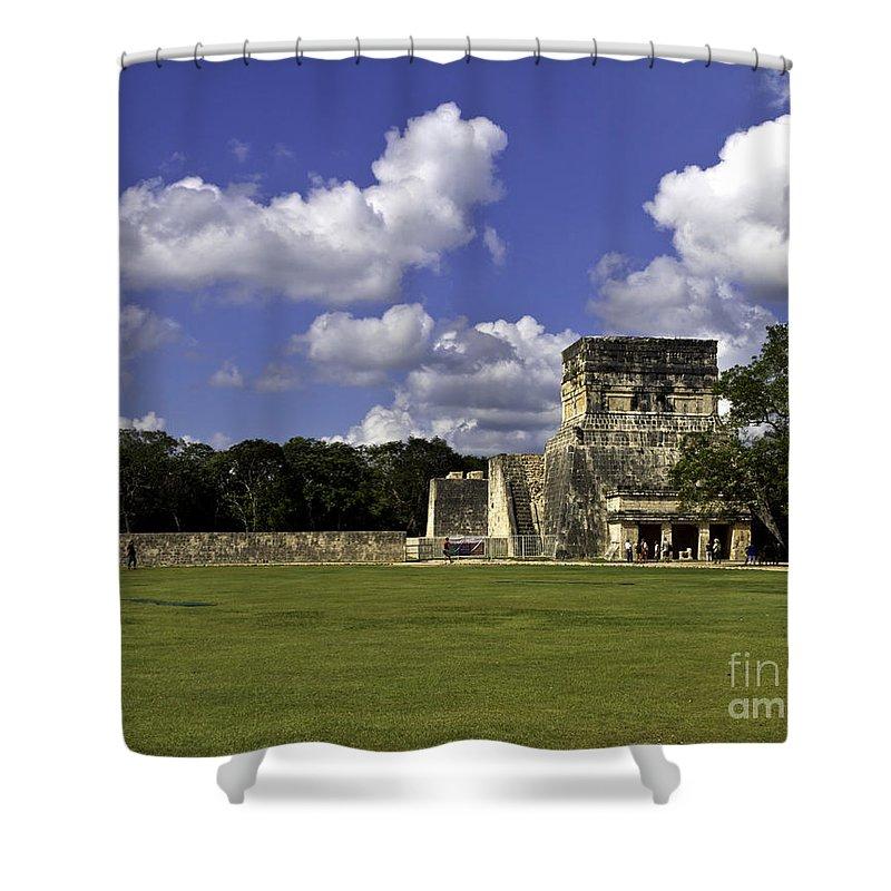 Chichen Itza Shower Curtain featuring the photograph Mayan Ball Court by Ken Frischkorn