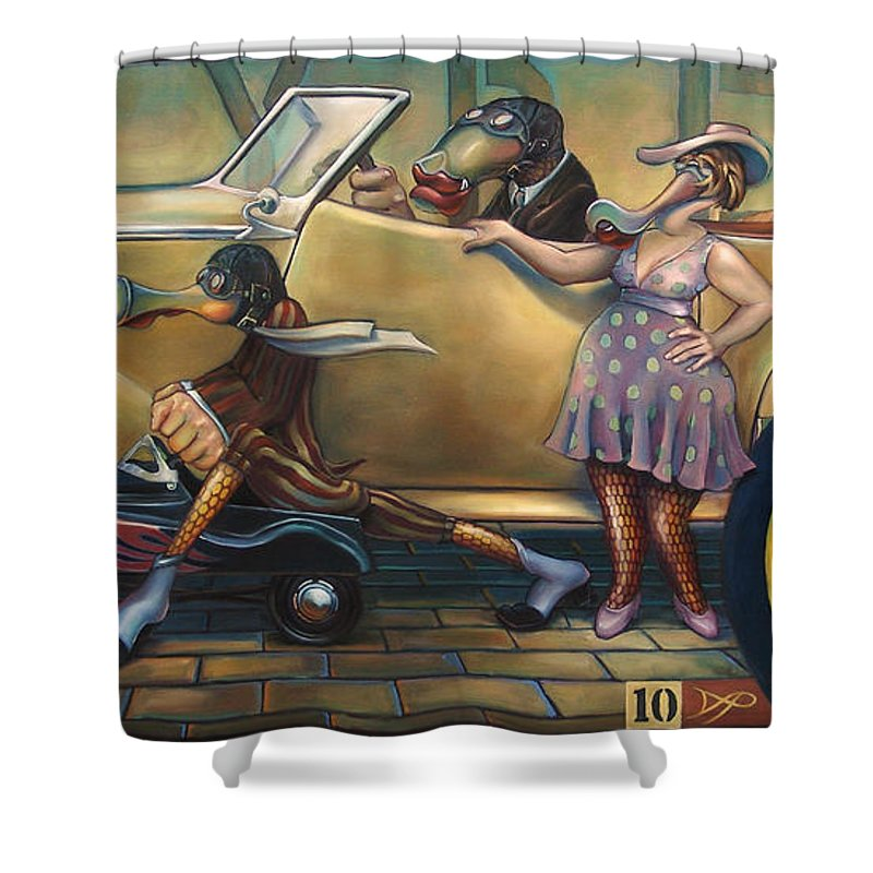 Automobile Shower Curtain featuring the painting Maybe Maybe Not by Patrick Anthony Pierson