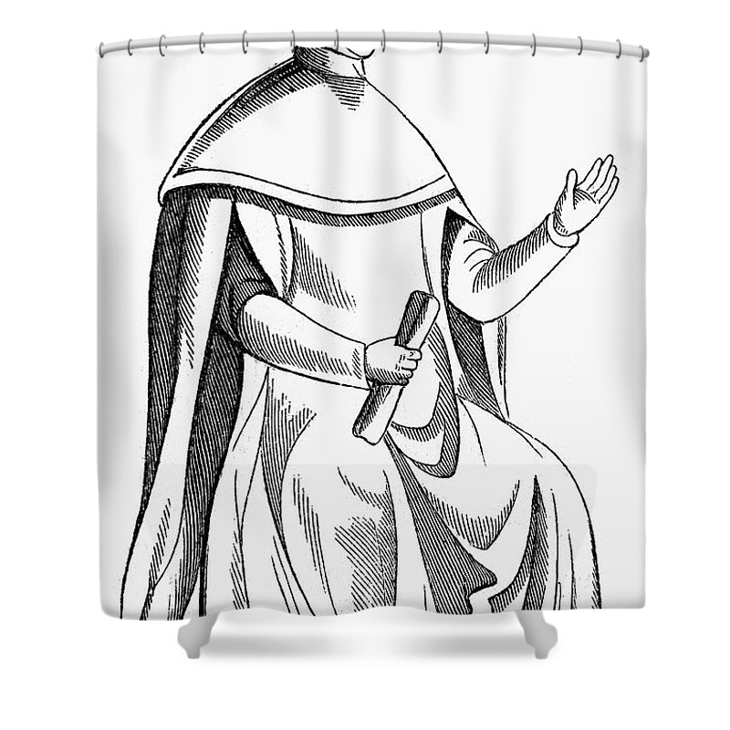 15th Century Shower Curtain Featuring The Photograph Medieval Judge By Granger