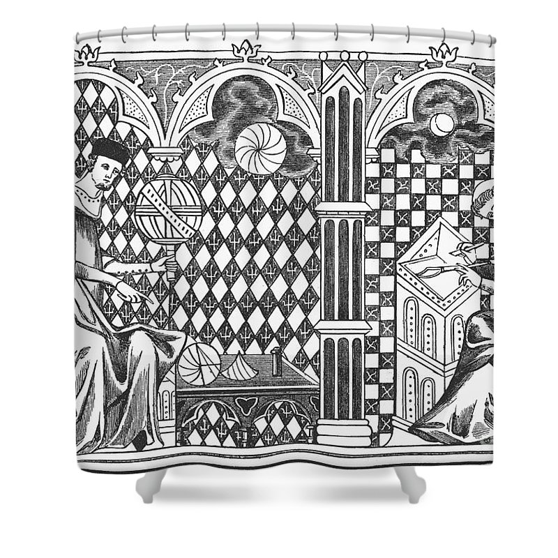 13th Century Shower Curtain featuring the photograph Medieval Mathematicians by Granger