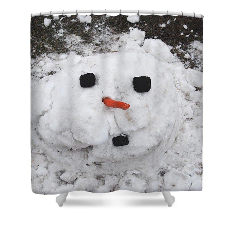 Snowman Shower Curtain featuring the photograph Melting Snowman by Grace Grogan