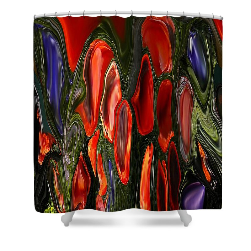 Abstract Shower Curtain featuring the painting Melting Wax by Renate Nadi Wesley
