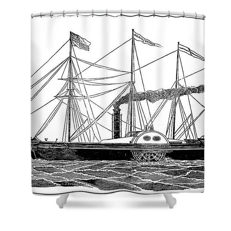 1838 Shower Curtain featuring the photograph Merchant Steamship, 1838 by Granger