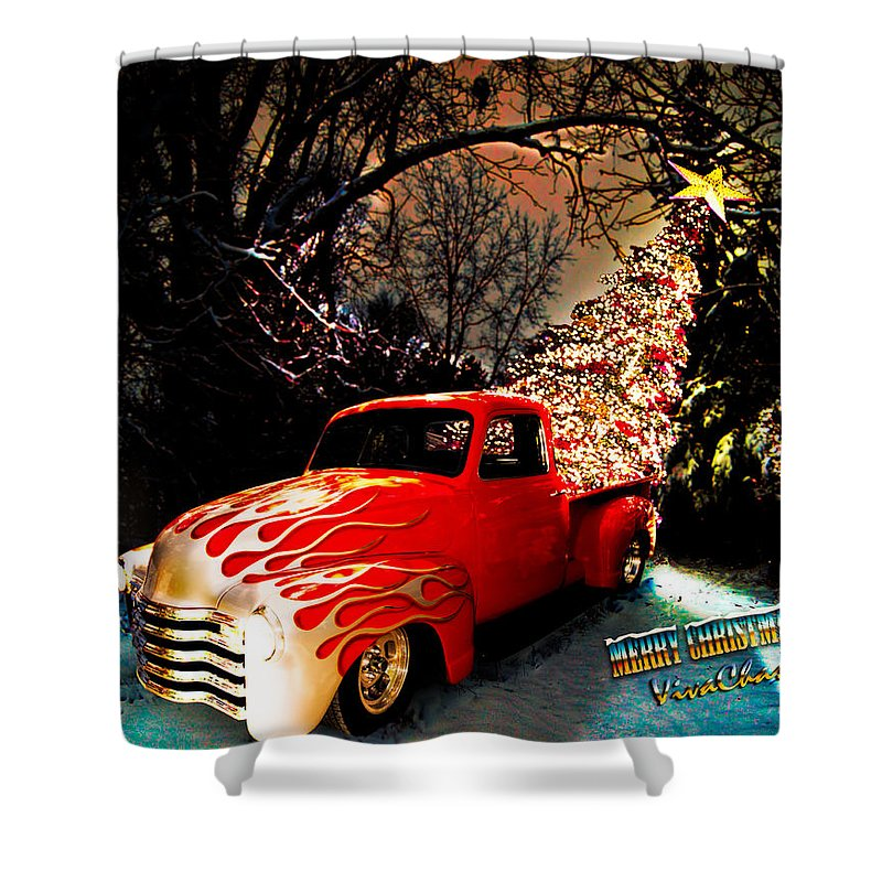 Art Shower Curtain featuring the photograph Merry Christmas From Vivachas by Chas Sinklier