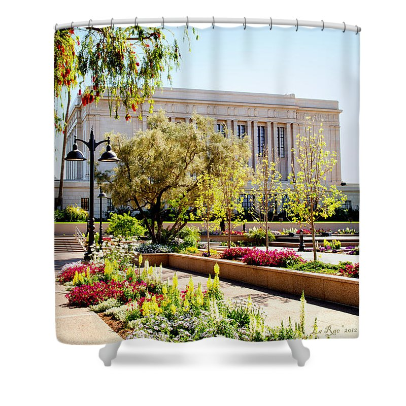 Mesa Temple Photography Shower Curtain featuring the photograph Mesa Spring by La Rae Roberts