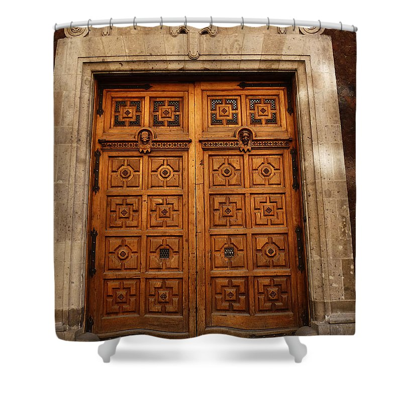 Mesoamerica Shower Curtain featuring the photograph Mexican Door 10 by Xueling Zou