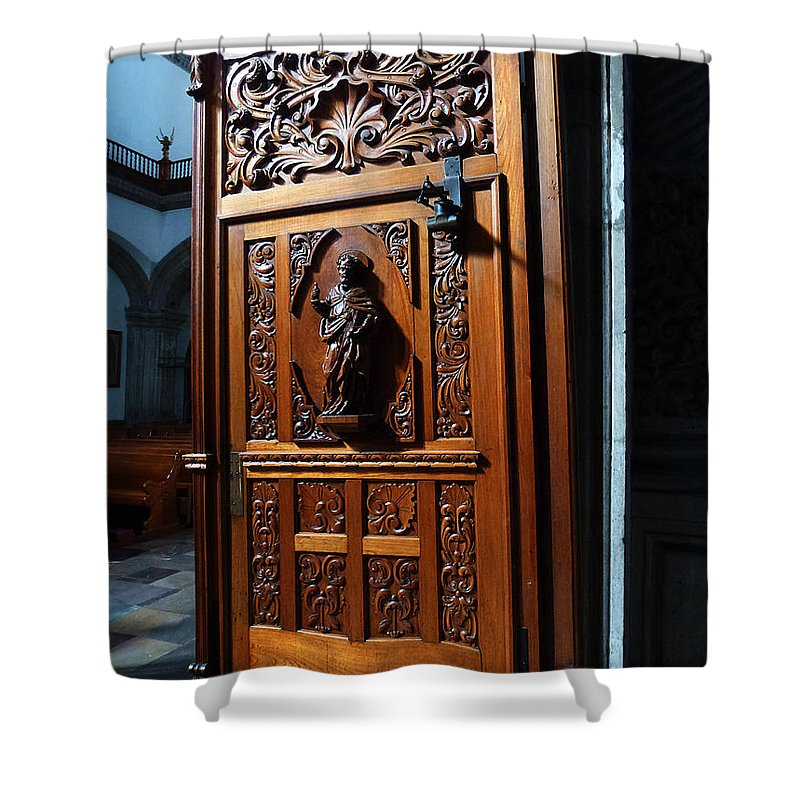 Mesoamerica Shower Curtain featuring the photograph Mexican Door 3 by Xueling Zou