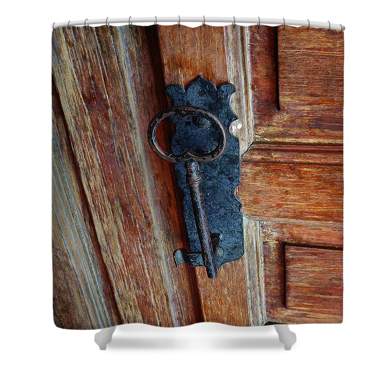 Key Shower Curtain featuring the photograph Mexican Door Decor 3 by Xueling Zou