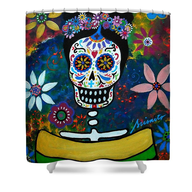 Day Of The Dead Shower Curtain featuring the painting Mexican Lady by Pristine Cartera Turkus