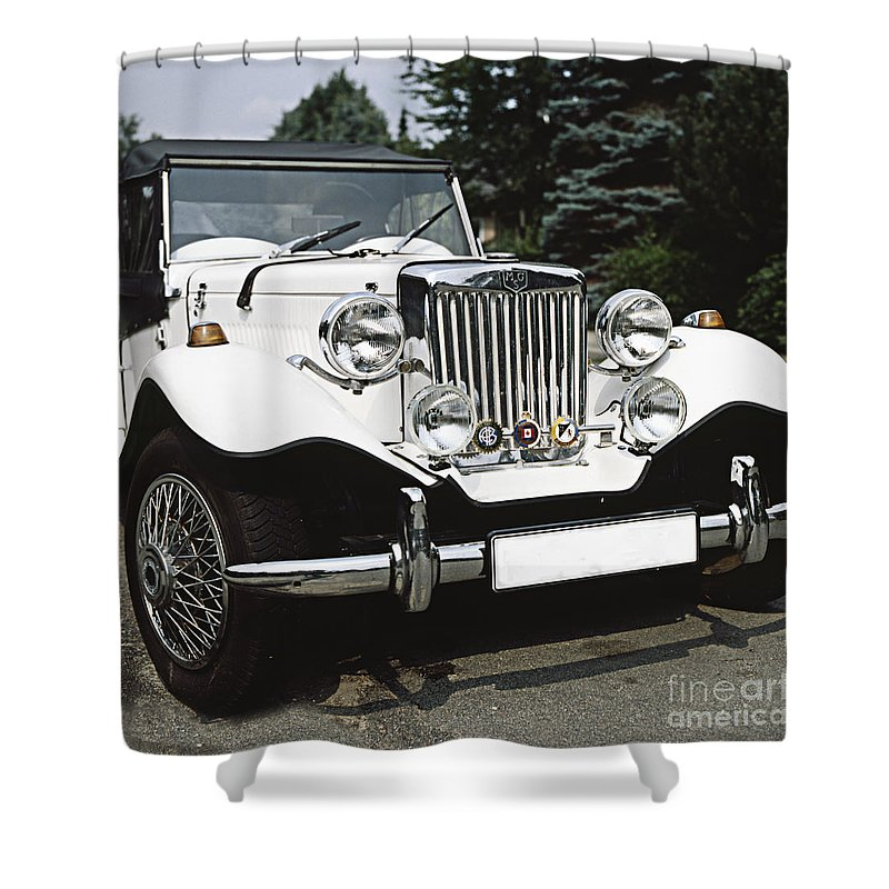 White Shower Curtain Featuring The Photograph Mg Classic Car By Heiko Koehrer Wagner
