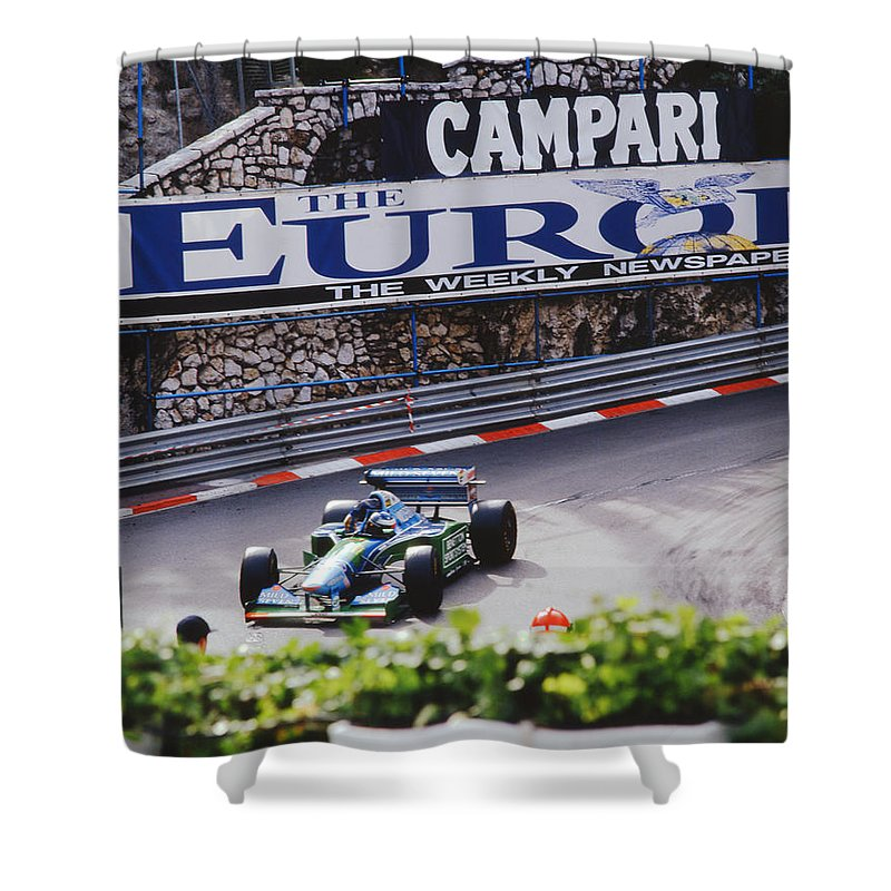 Benetton-cosworth Shower Curtain featuring the photograph Michael Schumacher After Winning Monaco Gp by John Bowers