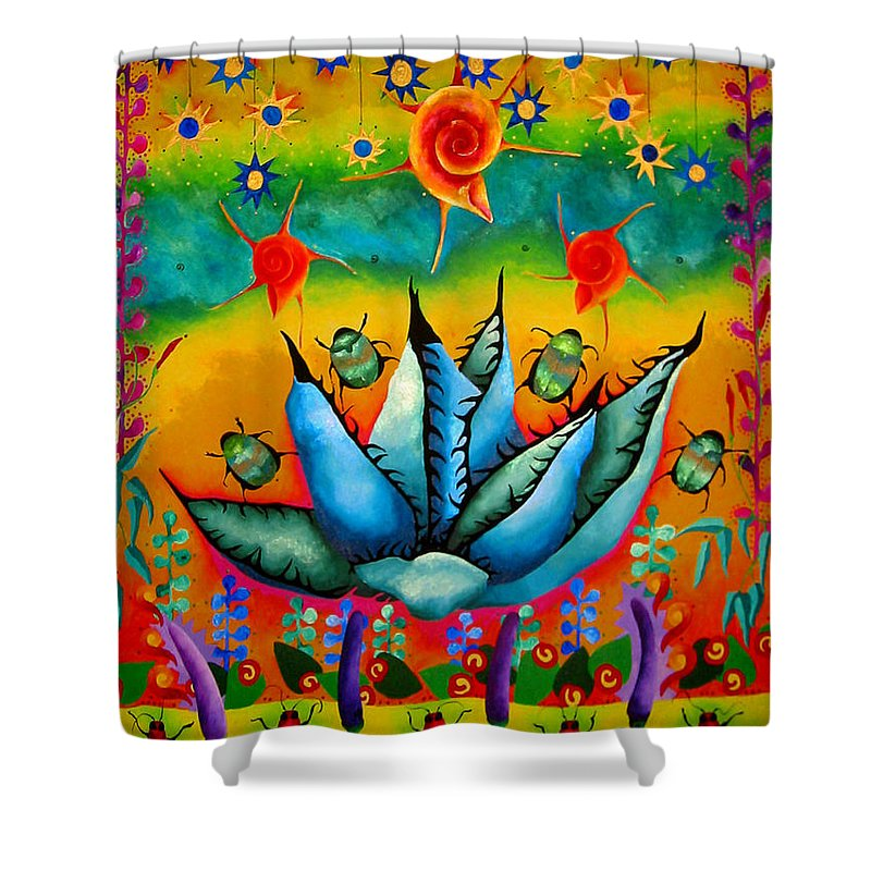 Agave Cactus Shower Curtain featuring the painting Midge by Elizabeth Elequin
