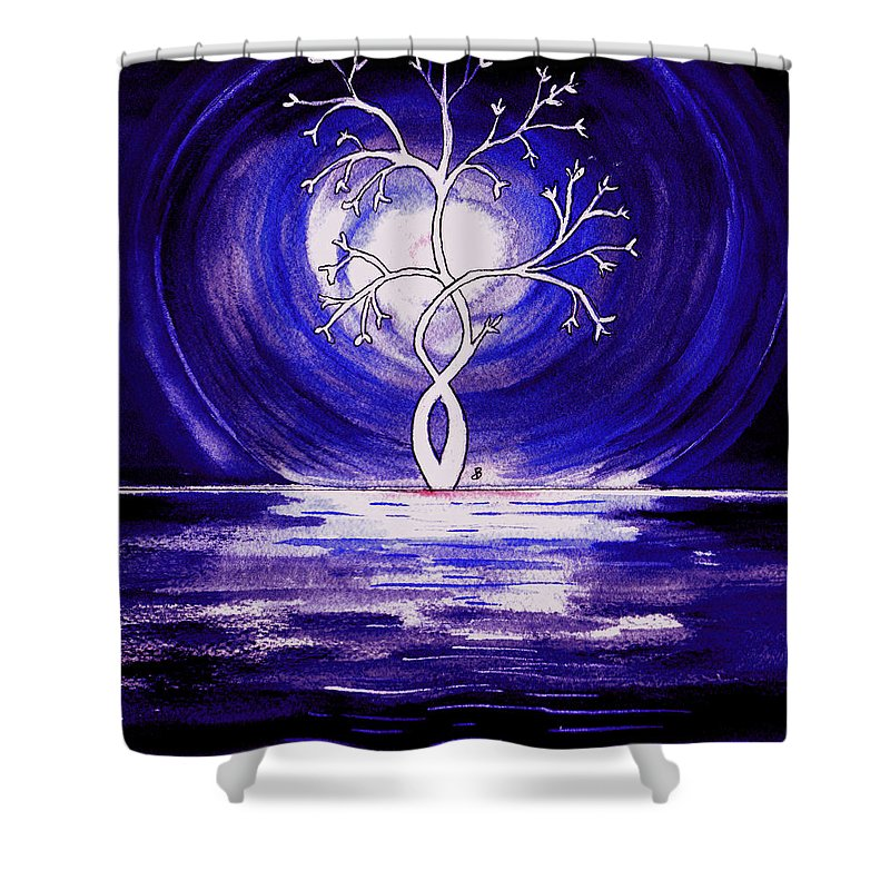 Watercolor Shower Curtain featuring the painting Midnight by Brenda Owen