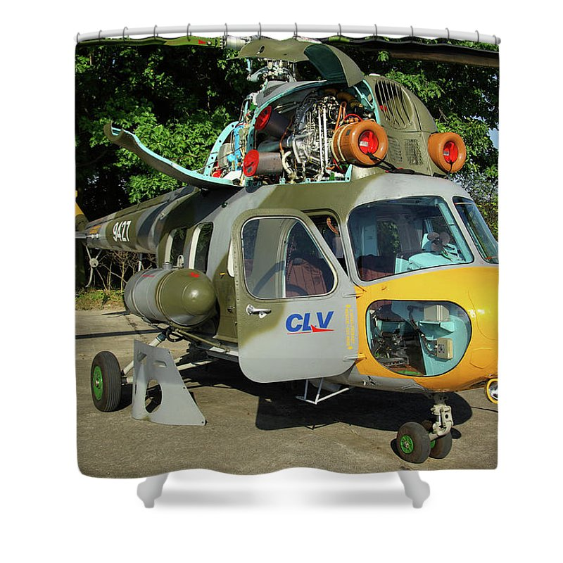 Mil Mi-2 Hoplite 9427 Utility Helicopter Czech Air Force Nato Days Ostrava Republic September 2011 Airplane Aeroplane Aircraft Shower Curtain featuring the photograph Mil Mi-2 Hoplite by Tim Beach