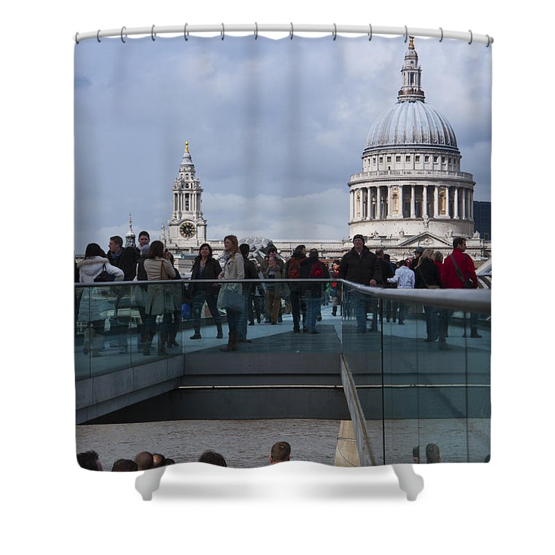 Britain Shower Curtain featuring the photograph Millennium Footbridge by Andrew Michael