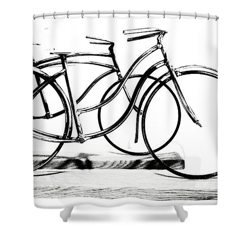 Scuplture Shower Curtain featuring the digital art Minimalist cycles by Rrrose Pix