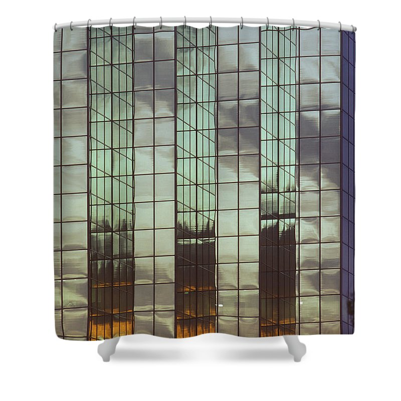 Architecture Shower Curtain featuring the photograph Mirrored Building by Mark Greenberg
