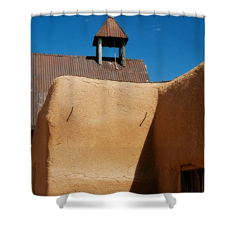 Santa Fe Shower Curtain featuring the photograph Mission Wall by Ron Weathers