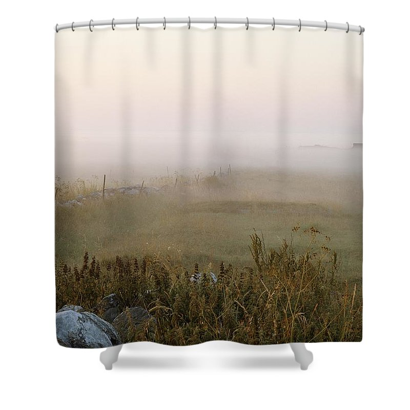 Natural Forces And Phenomena Shower Curtain featuring the photograph Misty Fields Divided By A Line Of Rocks by Mattias Klum