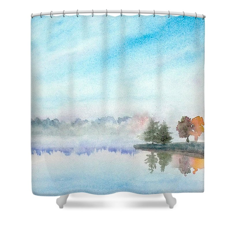 Lakeview Shower Curtain featuring the painting Misty Lake by Yoshiko Mishina