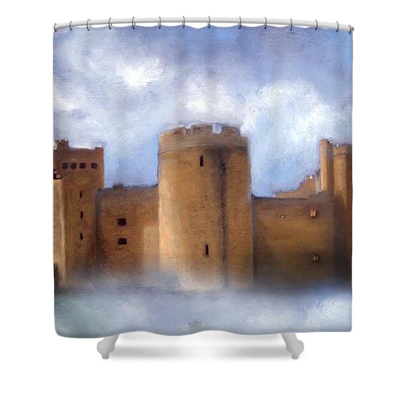 Scotland Shower Curtain featuring the painting Misty Romantic Scotland by Georgiana Romanovna