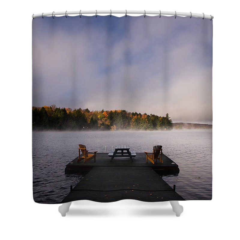 Sunrise Shower Curtain featuring the photograph Misty Sunrise by Cale Best