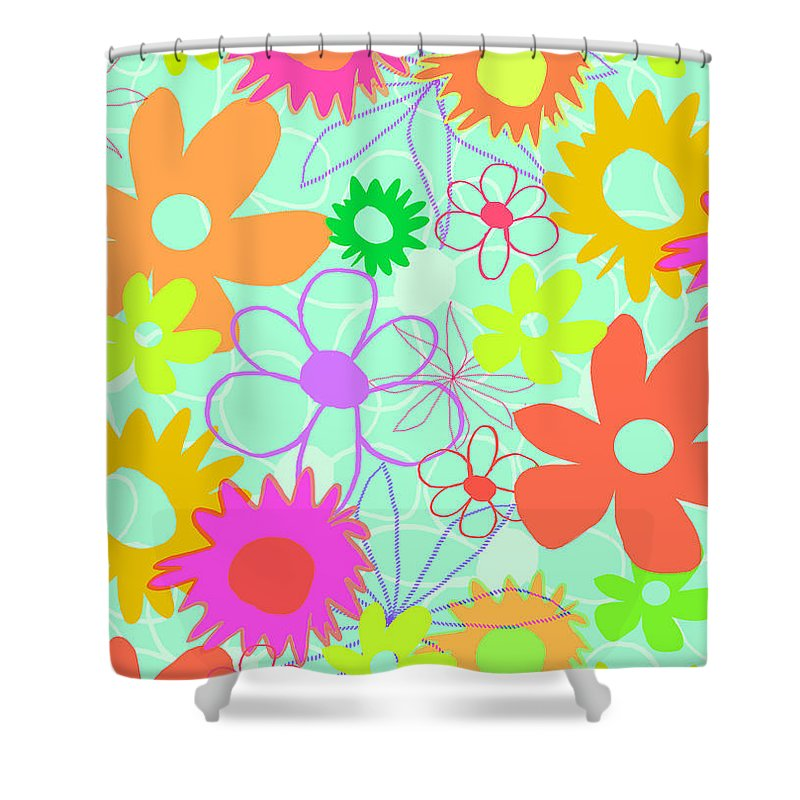 Louisa Shower Curtain featuring the digital art Mixed Flowers by Louisa Knight