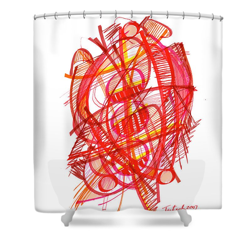 Modern Drawing Shower Curtain featuring the drawing Modern Drawing 113 by Lynne Taetzsch