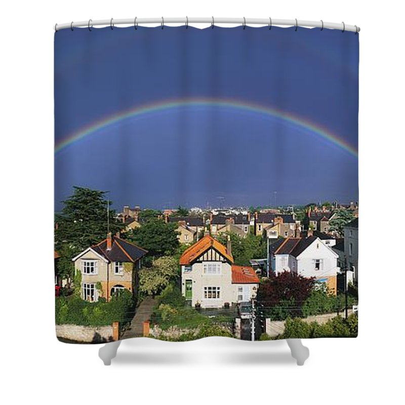 Building Shower Curtain featuring the photograph Monkstown, Co Dublin, Ireland Rainbow by The Irish Image Collection